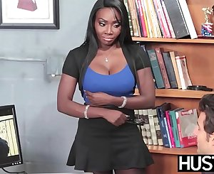 Dark-hued beauty Oso Lovely pussy pounded by dangled employee